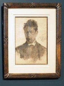 """Retrato de Diego Rivera joven,1903, Antonio Fabrés, carboncillo sobre papel, colección Pérez Simón, exposición """"Saturnino Herrán y otros modernistas""""."""
