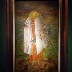 "La giganta,1946, Leonora Carrington, temple sobre panel de madera, colección particular, exposición ""Leonora Carrington, Cuentos Mágicos""."