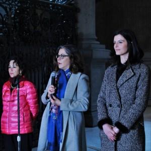 María Estela Duarte, curadora de la investigación (izquierda), Sara Baz Sánchez, directora del MUNAL (centro) y Alicia Valcarce, directora de Fundación Iberdrola México (izquierda).