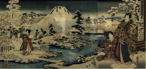"""Nieve en el jardín (Teichû no yuki), de la serie """"El Genji en colaboración de pinceles"""" (""""Gappitsu Genji""""), 1859, de Utagawa Kunisada I, también conocido como Toyokuni (1786-1864), colección Biblioteca Nacional de México. UNAM, exposición «Pasajero 21»."""