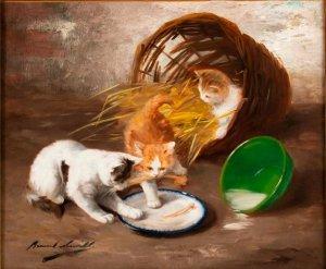 La comida de los gatitos (Le Repas des chatons), óleo sobre tela, autor Alfred Arthur de Brunel de Neuville, año desconocido (segunda mitad del siglo XIX), estilo realismo. Actualmente se encuentra en una colección privada.