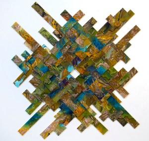 Ejercicio de disolución - Collage con fragmentos de dibujo en acuarela y tinta china  sobre papel algodón, 54 x 54 x 3 cm Enmarcado, 2019.