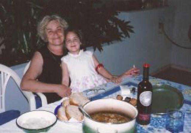 Dubrovnik, Croatia - Enjoying Grandma LaTinka's dinner and coffee on the Mandic family's outdoor patio.