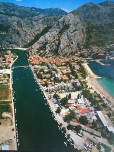 Spectacular aerial view of Omis, Croatia - home of the legendary Happy Man