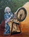 Irish spinning woman
