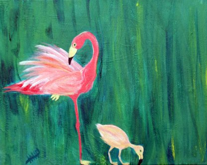 Flamingo and Chick - painting by Maura Satchell, artist