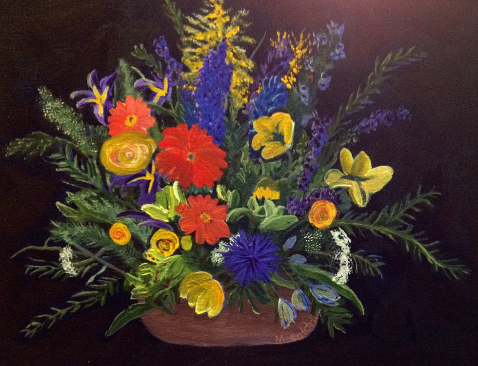 The Mother's Day flowers, in a painting
