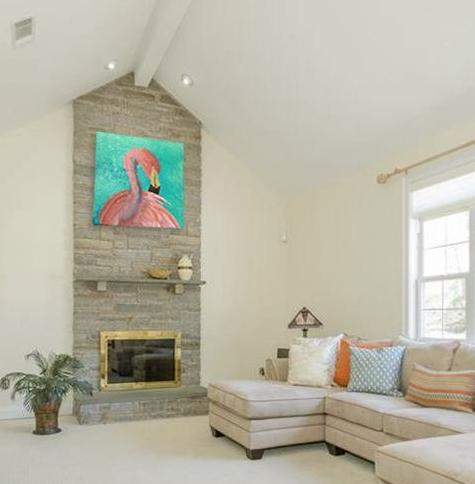 Fine art flamingo portrait painting by contemporary artist Maura Satchell.