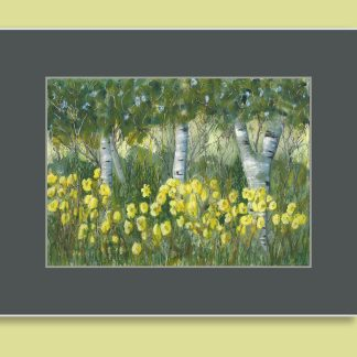 Birches and Daylilies painting depicting a pleasant summer day.
