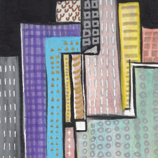 Downtown at Night painting by Maura Satchell
