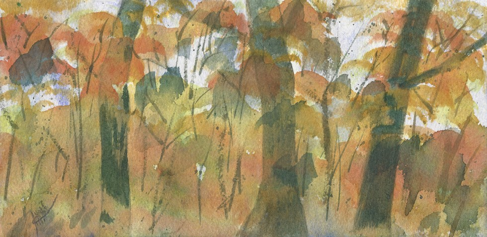 """Fall Gold, Original watercolor painting by Maura Satchell - 4-5/8"""" x 9"""" List: $170"""