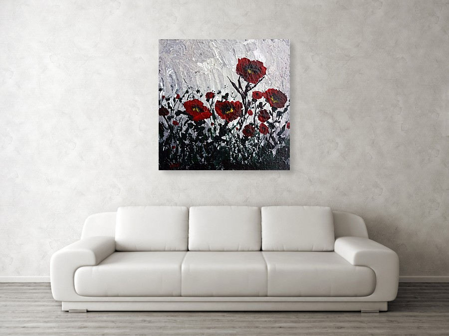Poppies in the Rain is sold, but commissions for similar paintings in different sizes / colors would be considered.