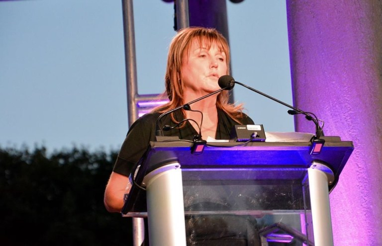 Maureen speaking at Recovery Fest
