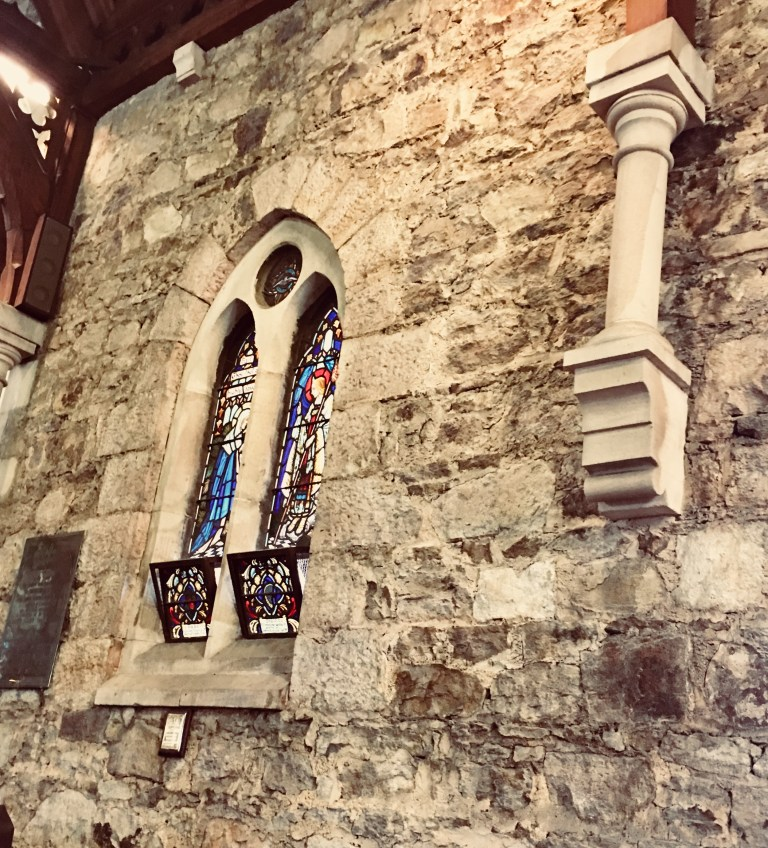 Old stone church with stained glass windows in Kangaroo Point Brisbane