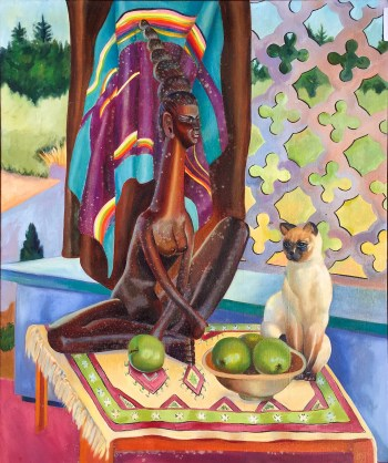 #85 Laotian lady - apples and cat