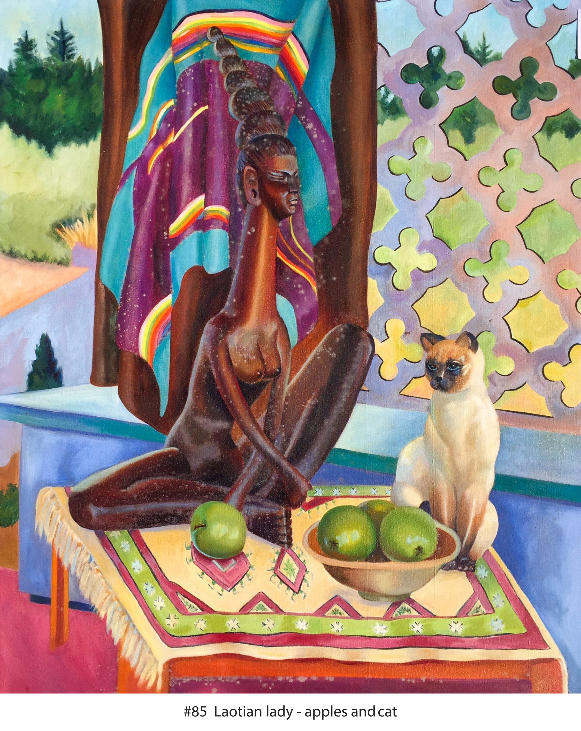 Laotian lady - apples and cat