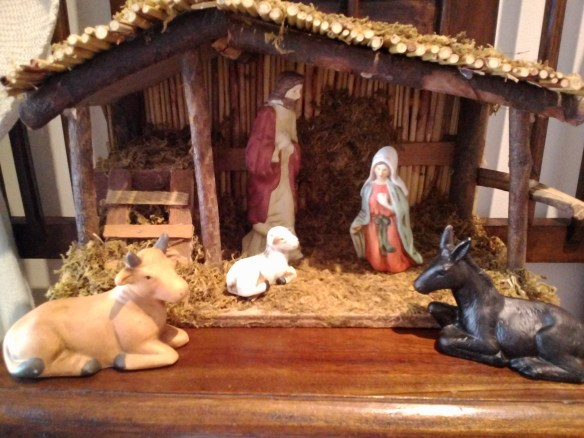 The Christmas crib on our hall-stand. Mary and Joseph are waiting the arrival of the Christ-Child at  Christmas.