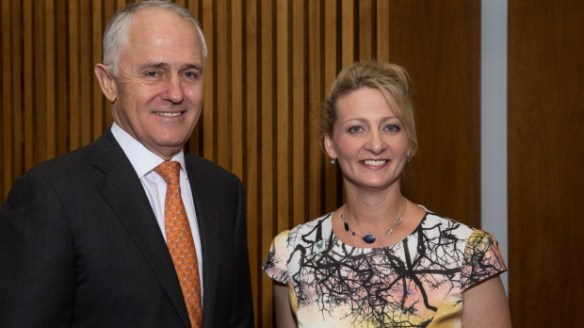 Dr Ann O'Neill with Prime Minister, Malcolm Turnbull (picture courtesy of SMH)