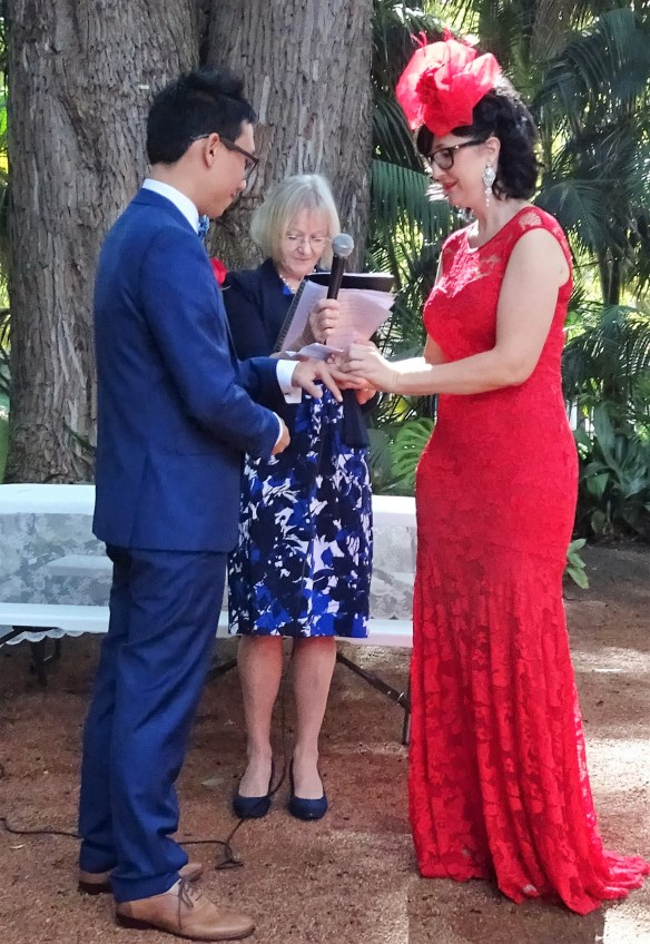 Exchange of vows and rings with family friend, Helen Macmahon, Wedding Celebrant
