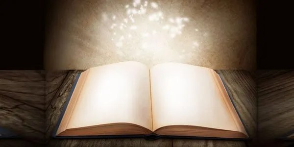 Book opening up to glow