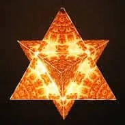 Orange MerKaBa Star Tetrahedron on black background