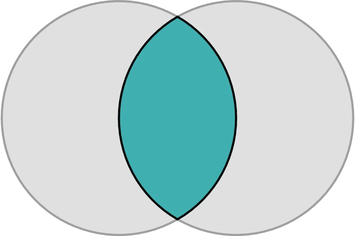 vesica pisces gray circles with overlapping blue