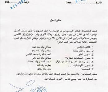 رئيس الحزب الحاكم يقر التشكلة الجديدة لمعاونيه (وثيقة)