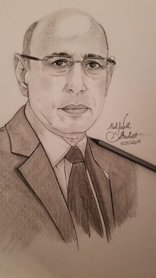 رسم للفنان التشكيلي محفوظ ولد ببوط