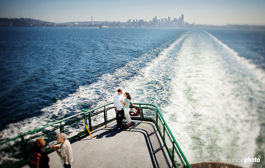 Engagement Portraits on the Washington State Ferry in Seattle