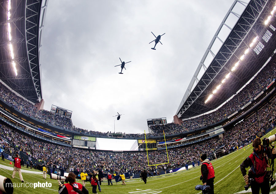 In celebration of Veterans Day there was a fly-over right after the National Anthem
