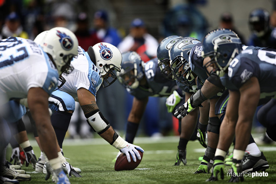 The offensive and defensive line of the Seahawks and Titans.
