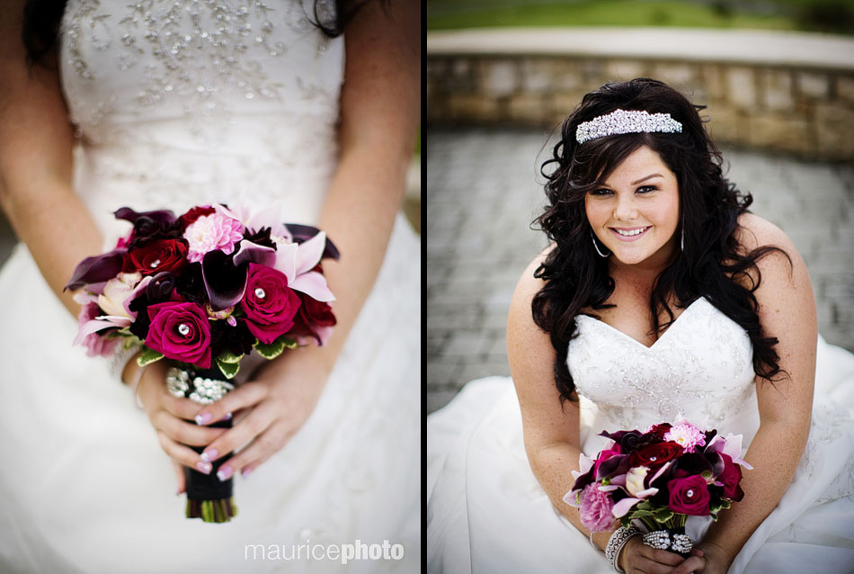 A picture of a bride posing with bouquet, hot pink roses, jewels, at Newcastle