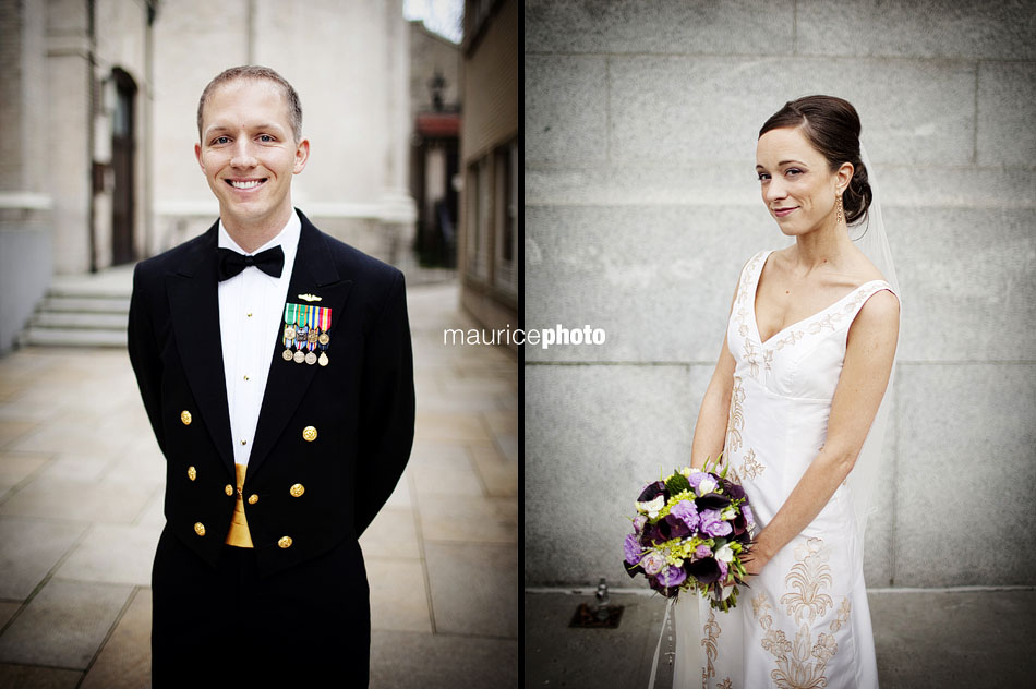 Solo portraits of a bride and groom in front of St. James Cathedral in downtown Seattle.