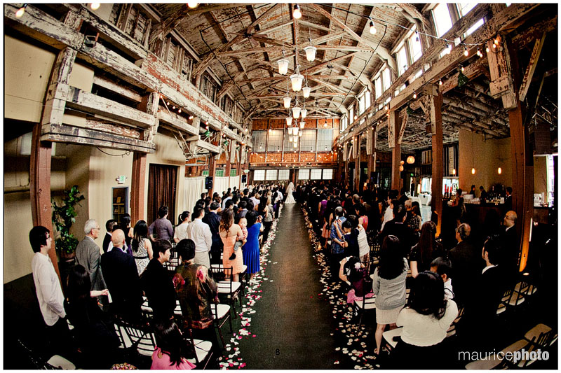 Wide angle photo of the ceremony at SODO Park Herban Feast Catering