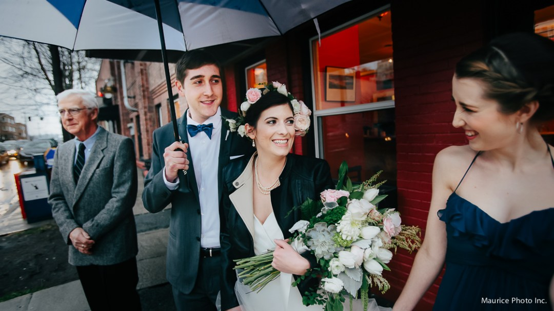 The bride wore a leather jacket