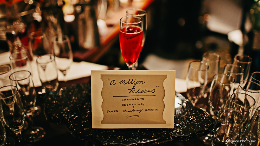 Champagne cocktails at wedding