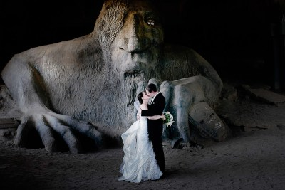 Wedding pictures at the Fremont Troll in Seattle