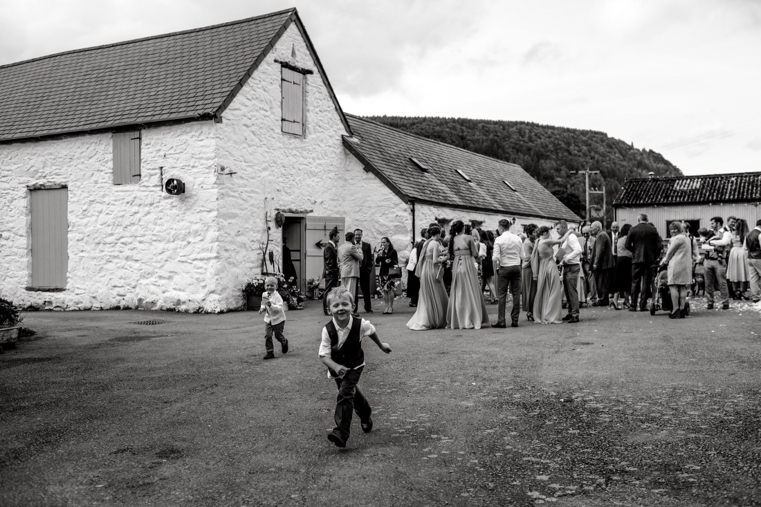Hafod Farm Wedding - The wedding guests outside at the reception.