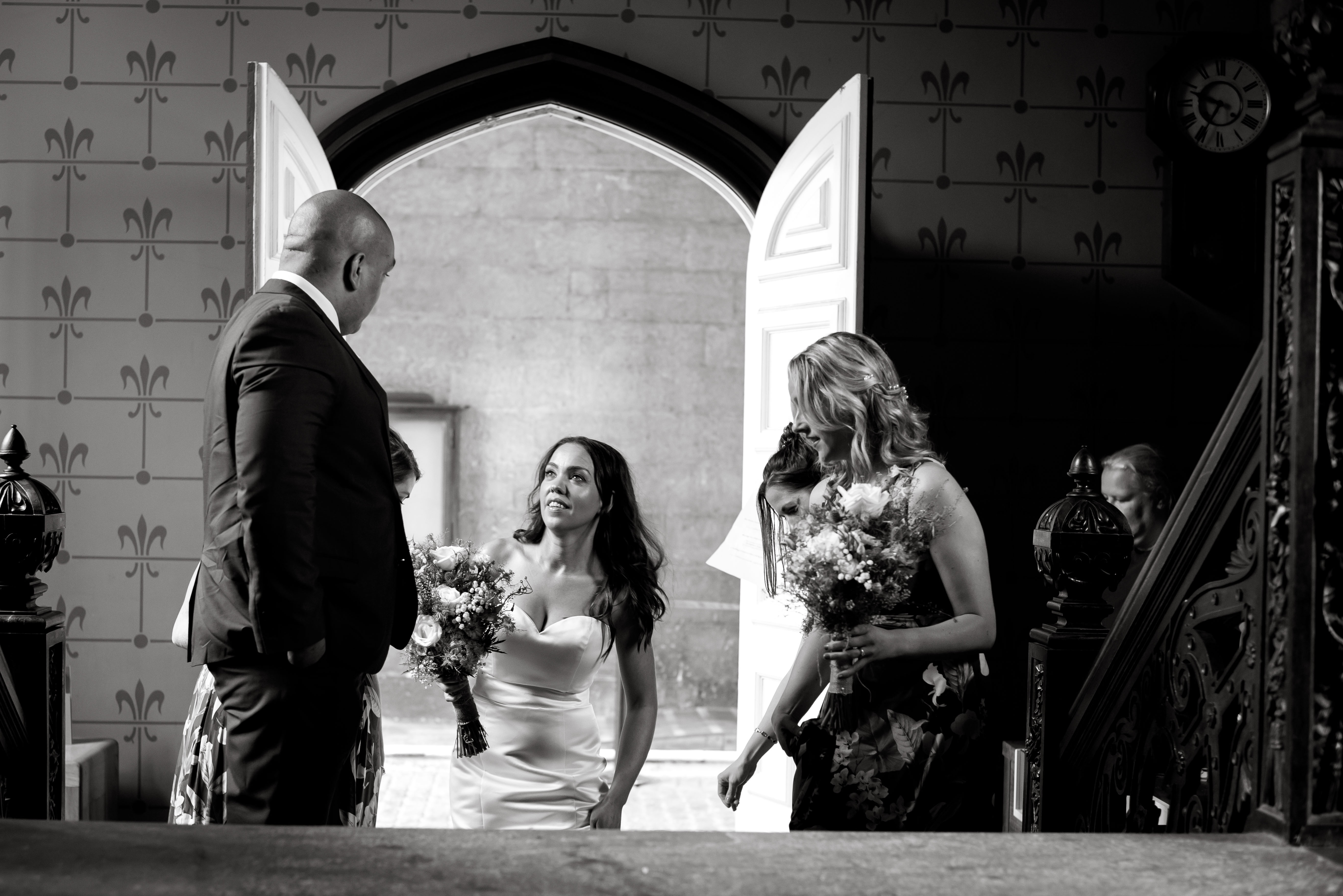 Wedding Photographer Denbighshire. The bride arriving at the wedding ceremony.