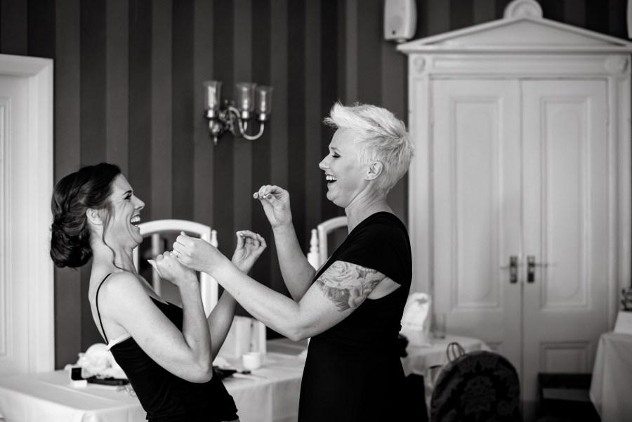 Statham Lodge Wedding - Bride prep fun