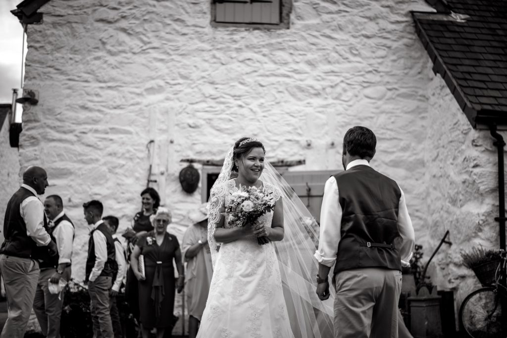 Conway wedding - Lovely quiet bride moment with veil blowing in the breeze.