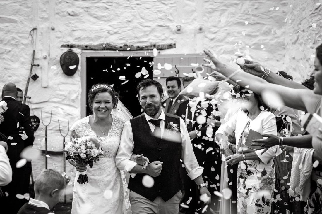 Hafod Farm Wedding - Bride and Groom confetti.