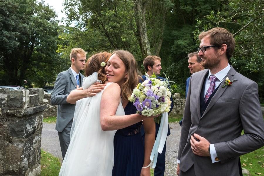 Hugs from the bride at Penarth Fawr.