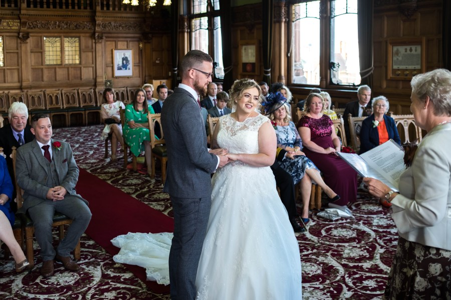 Wedding Photography in North Wales. Image by Maurice Roberts Photography taken at Chester town Hall.