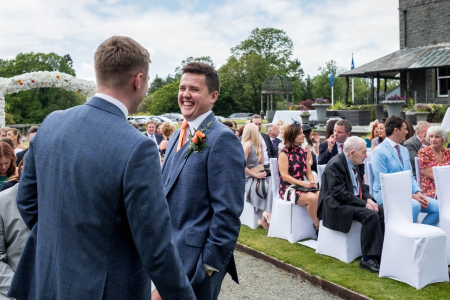 Groom and Best man at Bron Eifion