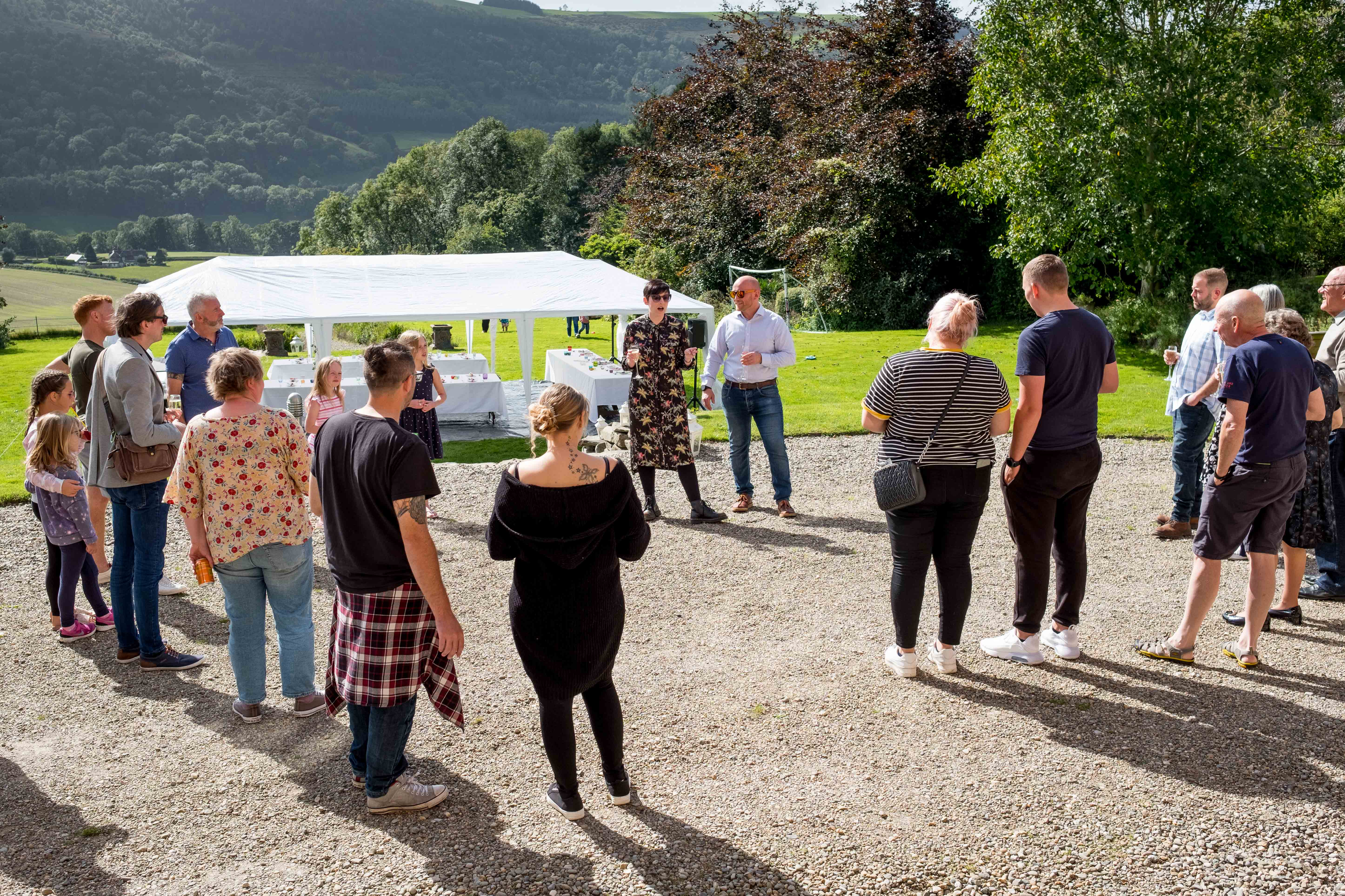 Pre wedding speeches with a view if the Llangollen hills.