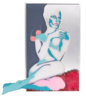 Evelyne AXELL, Portrait de la dame aux yeux bleus, 1970 Bont, plexi en emaille (FR: fourrure, plexi et émail - ENG: Fur, plexi and enamel) 106 x 66 cm