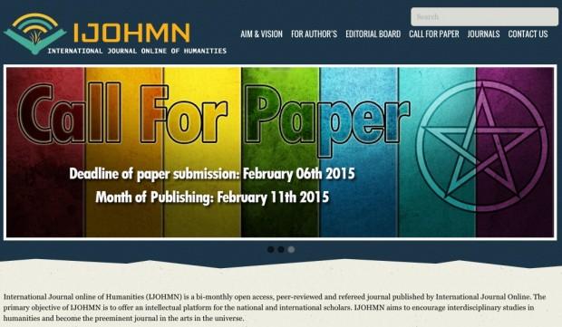 """Anúncio de chamada para publicação de artigos do site do periódico indiano """"International Journal Online of Humanities (IJOHMN)"""". Imagem: Reprodução"""