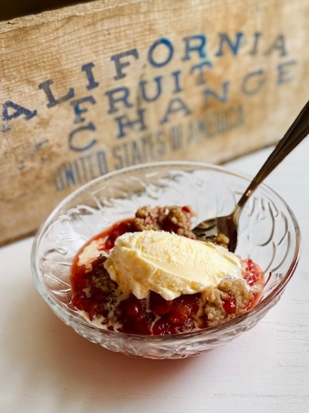 Strawberry and Peach Crumble