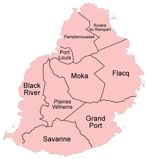 Mauritius Political Districts Map Mauritius Attractions